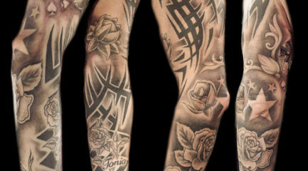 Black and white tribal sleeve w. flowers