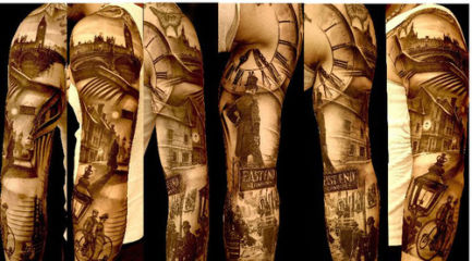 Black and white Victorian full sleeve tattoo