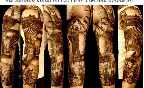 Black and white Victorian full sleeve tattoo