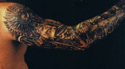 Black bio-mechanical full sleeve tattoo