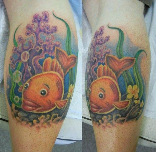 Colorful cartoon goldfish leg tattoo
