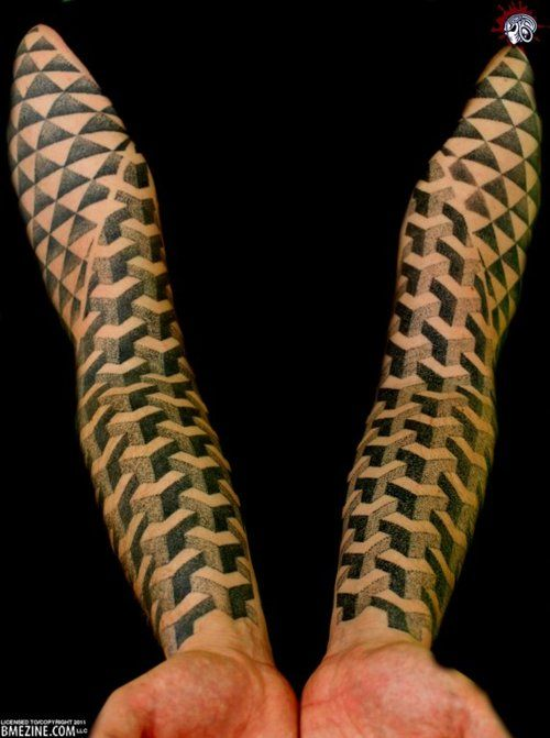 cool geometric pattern sleeve tattoos