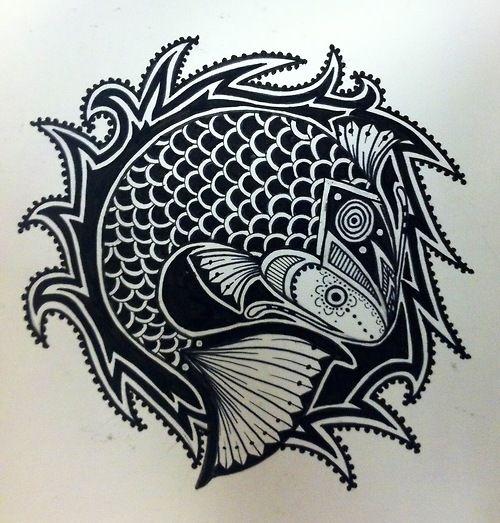 cool tribal fish tattoo design. Black Bedroom Furniture Sets. Home Design Ideas