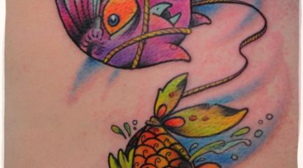 Cute cartoon bird and fish tattoo