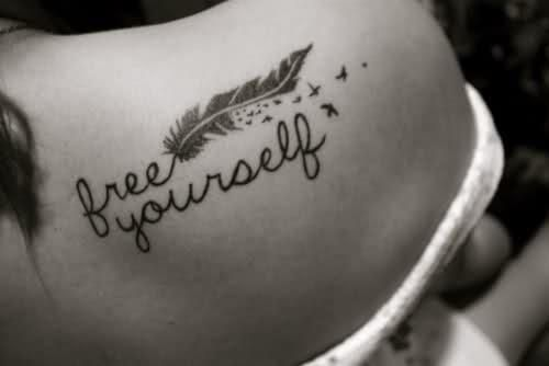 Free Yourself feather and birds tattoo