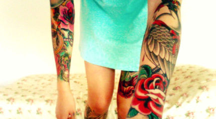 Girls full and half sleeve tattoos w/ flowers and birds