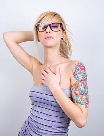 Girls half sleeve with flowers and diamonds