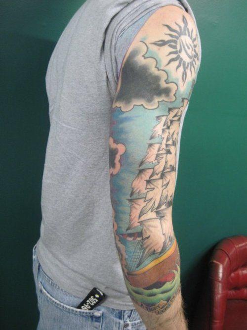 Guys nautical scene full sleeve tattoo