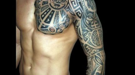 Maori tribal pattern full sleeve tattoo
