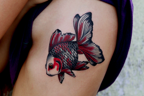 Red and black goldfish arm tattoo for Goldfish tattoo meaning