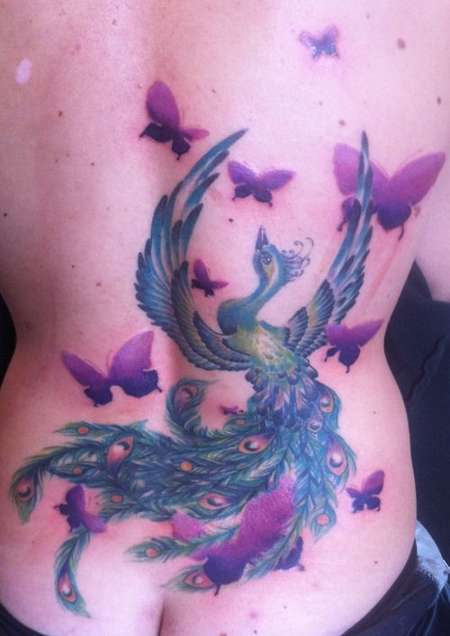 Blue phoenix tattoo with purple butterflies