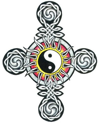 Celtic cross and ying yang tattoo design