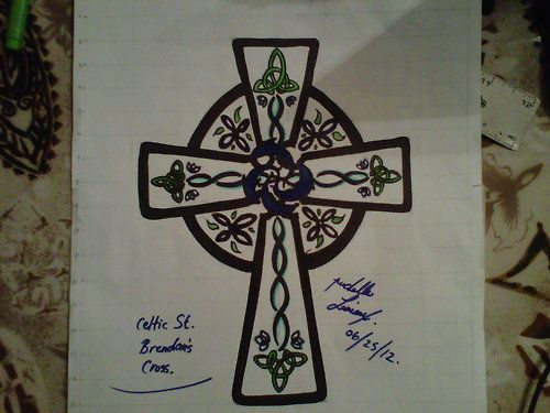 Celtic cross tattoo drawing with knots