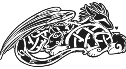 Celtic dog and dragon tattoo design