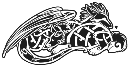Celtic dog and dragon tattoo design