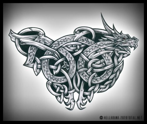 Celtic knot dragon tattoo design