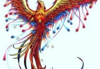Colorful phoenix tattoo design with wings spread