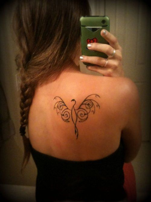 Elegant simple phoenix back tattoo