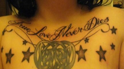 Girls Celtic knot and stars chest tattoo