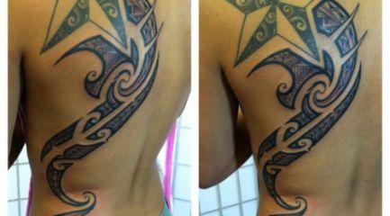 Girls Polynesian tribal back tattoo with star