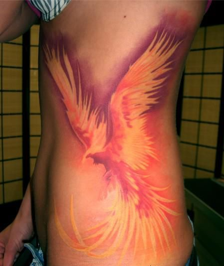 Flame Tattoos Designs Ideas And Meaning: Girls Side Phoenix On Fire Tattoo