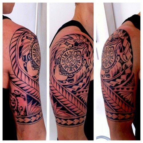 Guys Polynesian half sleeve tattoo with sea turtle