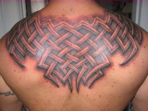 Huge tribal Celtic back tattoo