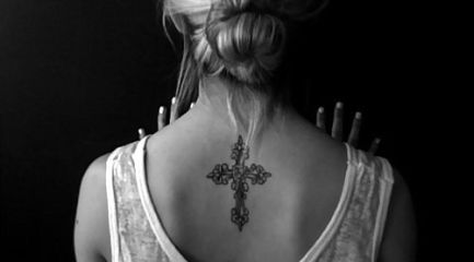 Nice Celtic cross with flowers for girls