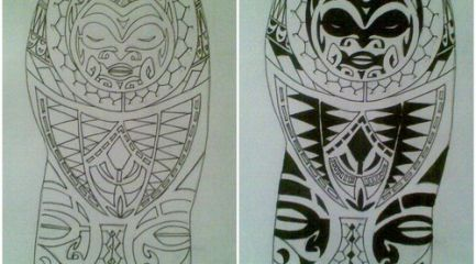Polynesian half sleeve tattoo design with face