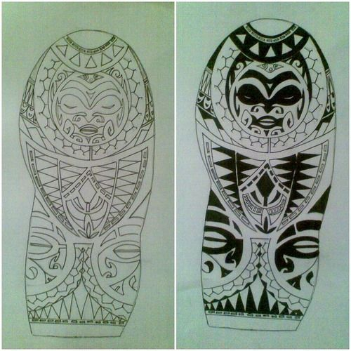 Polynesian Half Sleeve Tattoo Design With Face