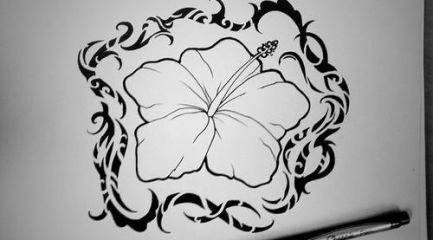 Polynesian style hibiscus flower tattoo design