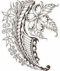 Polynesian tattoo design with flowers