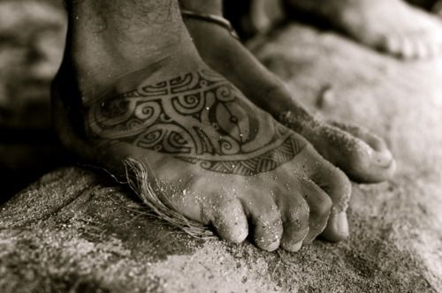 Polynesian Tribal Foot Tattoo