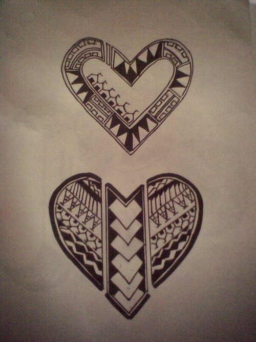 Polynesian Tribal Heart Tattoo Designs