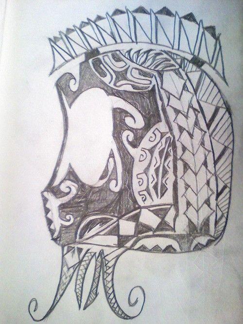 Polynesian warrior tattoo design