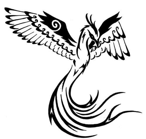 Simple black phoenix tattoo design