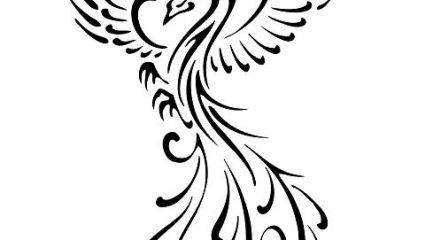 Swirly phoenix tattoo design