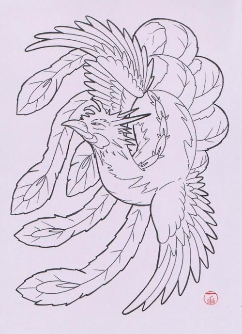 Traditional Japanese phoenix design