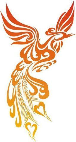 Tribal phoenix tattoo design in fire colors