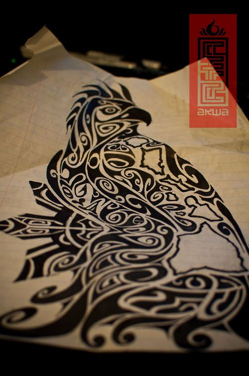 Tribal Polynesian bird tattoo design