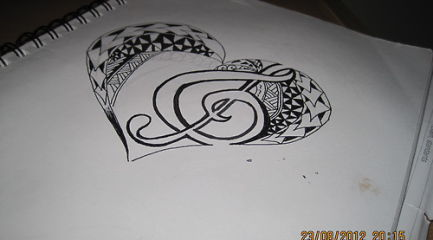 Tribal Polynesian heart tattoo design with treble clef
