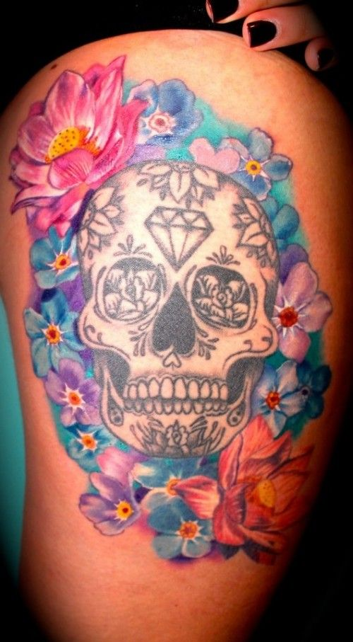 Girls Thigh Sugar Skull Tattoo With Flowers Diamond