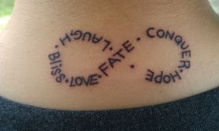 Unique infinity tattoo for girls with positive words