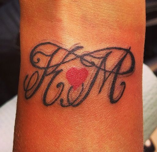 infinity tattoo w large initials small red heart on wrist. Black Bedroom Furniture Sets. Home Design Ideas